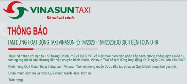 Sau Grab, Be, Mai Linh, đến lượt Vinasun cũng công bố tạm ngừng hoạt động để ngăn ngừa dịch bệnh Covid19 - Ảnh 1.