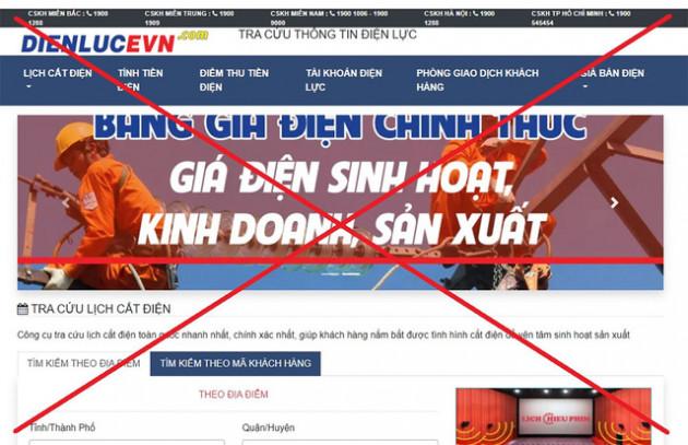 Xuất hiện website giả mạo EVN - Ảnh 1.