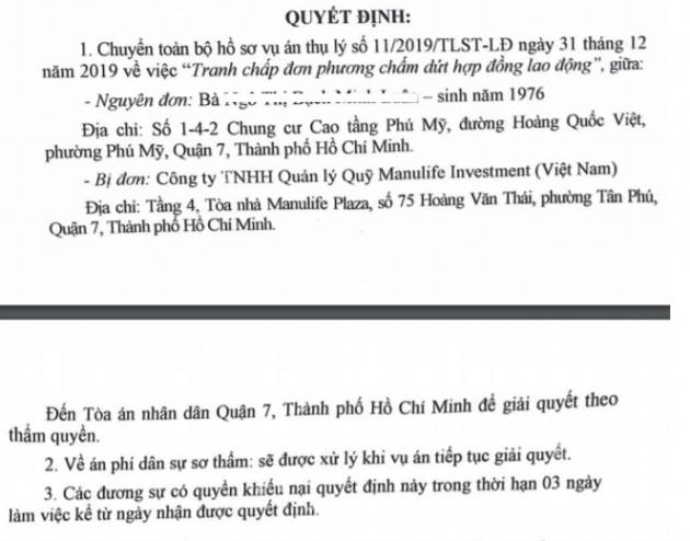 Diễn biến mới vụ Quỹ Manulife Investment Việt Nam bị kiện ra tòa, đòi bồi thường 5 tỷ