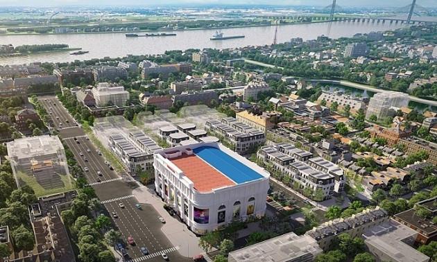 Dự ánVincom Shophouse Mỹ Tho nhìn từ trên cao.